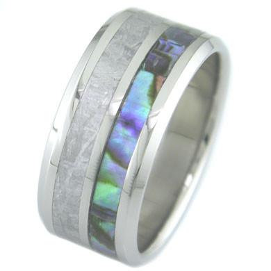 METEORITE AND ABALONE TITANIUM RING