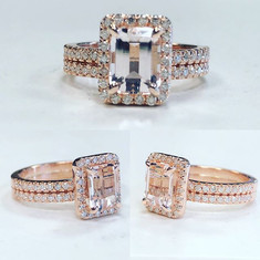 Morganite and diamond engagement ring. F