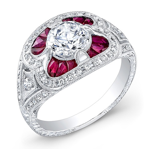 Ruby and 14kt Moissanite Engagement Ring