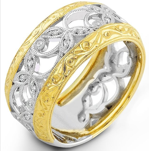 14k White and Yellow Gold Wide Band