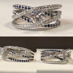 Beautiful intertwined diamond and sapphi