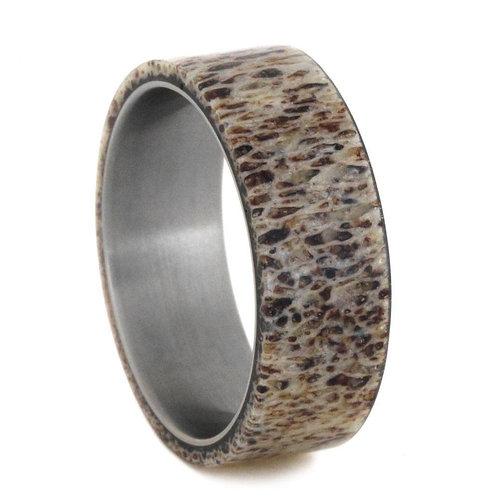 Deer Antler Titanium Ring