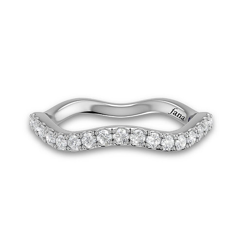 14kt Gold Petite Half Moissanite Pave Twist Wedding Band
