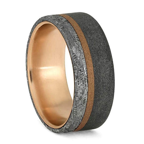 Meteorite 14kt Rose gold Ring