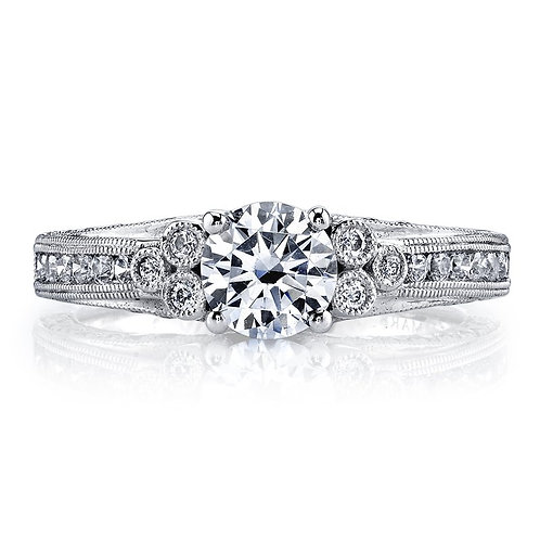 14kt White Gold Moissanite Art Deco Engagement Ring