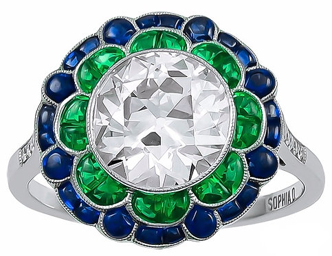14kt MoissaniteRound Center Stone Ring surrounded by Emeralds and Sapphires