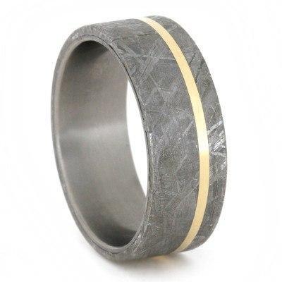 Meteorite 14kt Gold Titanium Band