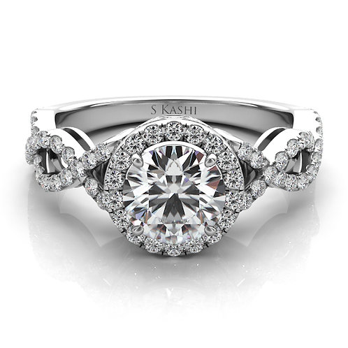 14kt Moissanite Halo Design Engagement Ring