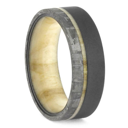 Meteorite Titanium Wood Ring