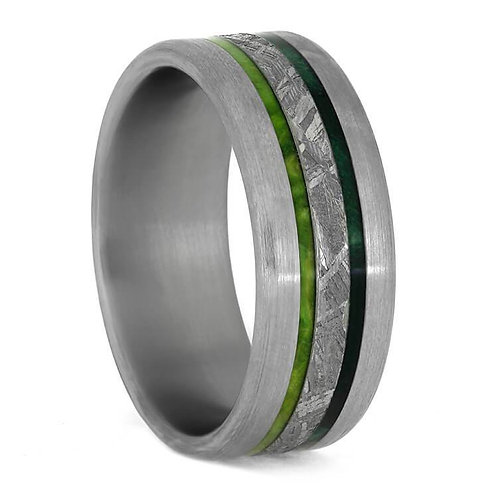 Meteorite Wood Titanium Ring