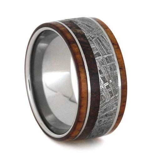 Meteorite Dinosaur Titanium Wood Ring