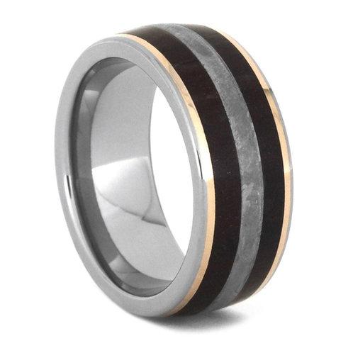Meteorite Wood 14kt gold  Titanium Ring