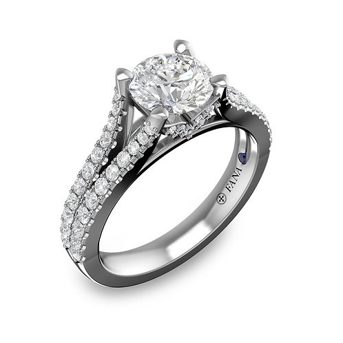 Classic Inspired Pave Split Band Engagement Ring