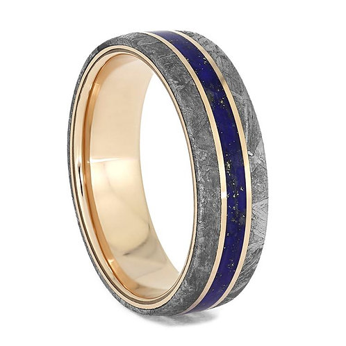Meteorite 14kt Rose Gold Lapis Ring