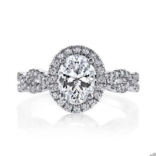 14kt Halo Moissanite Engagement Ring