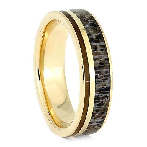 14kt gold deer antler Ring