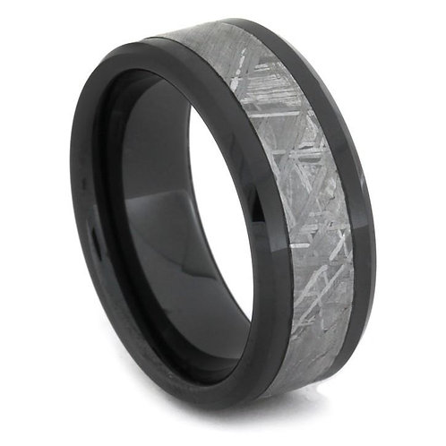 Meteorite Black Ceramic Ring
