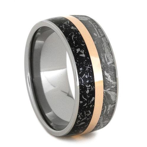 Meteorite Gold Inlay stardust Titanium Ring