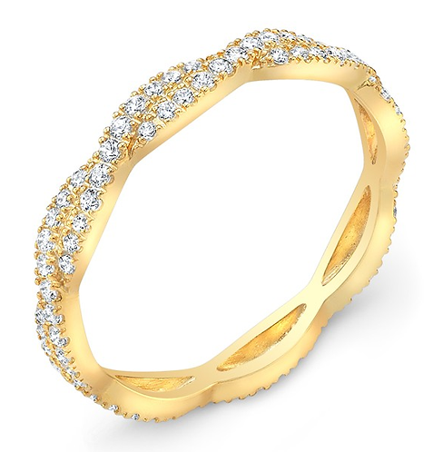 14k Gold Art Deco Moissanite  Anniversary Band