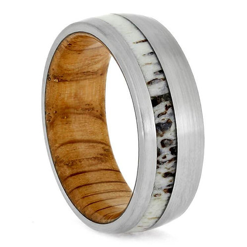 Wood Deer Antler Titanium Ring