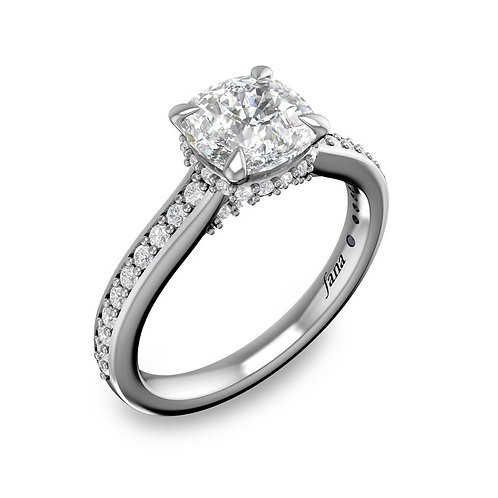 Single Row Detailed Engagement Ring
