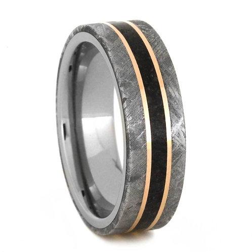 Meteorite Dinosaur bone Titanium Ring