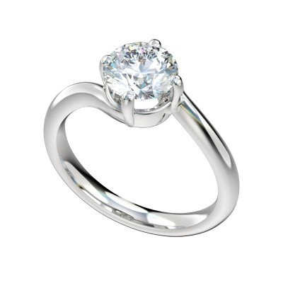 14kt Bypass Solitaire Engagement Ring.