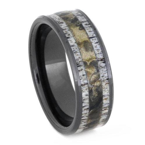 Deer Antler Camo black ceramic Ring