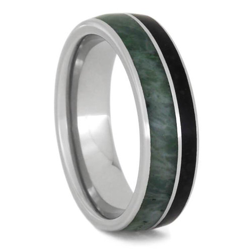 Jade and Obsidian Titanium Ring