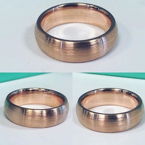 Brush finish 14kt rose gold wedding band