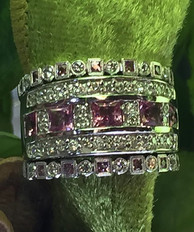Multi stack diamond and pink sapphire en