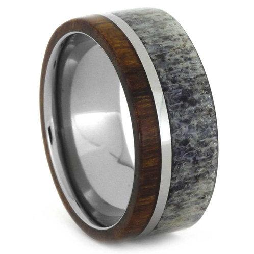 Deer antler Wood Titanium Ring
