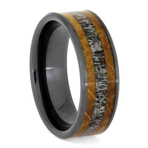 Wood deer antler black ceramic  Ring