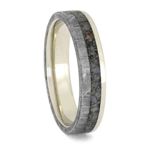 Meteorite Dinosaur 14kt White Gold Ring