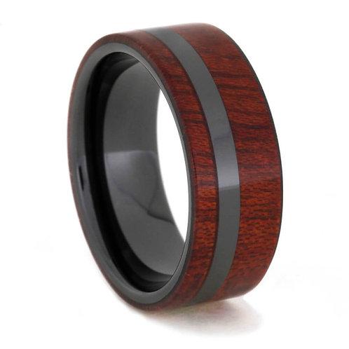 Black Ceramic Wood  Ring