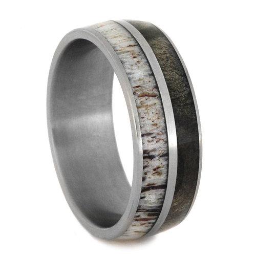 Deer anteler wood  Titanium Ring