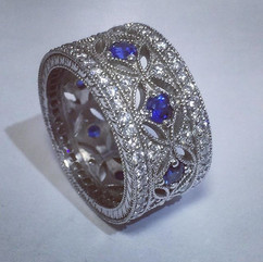 Sapphire and pave set diamond wide band.