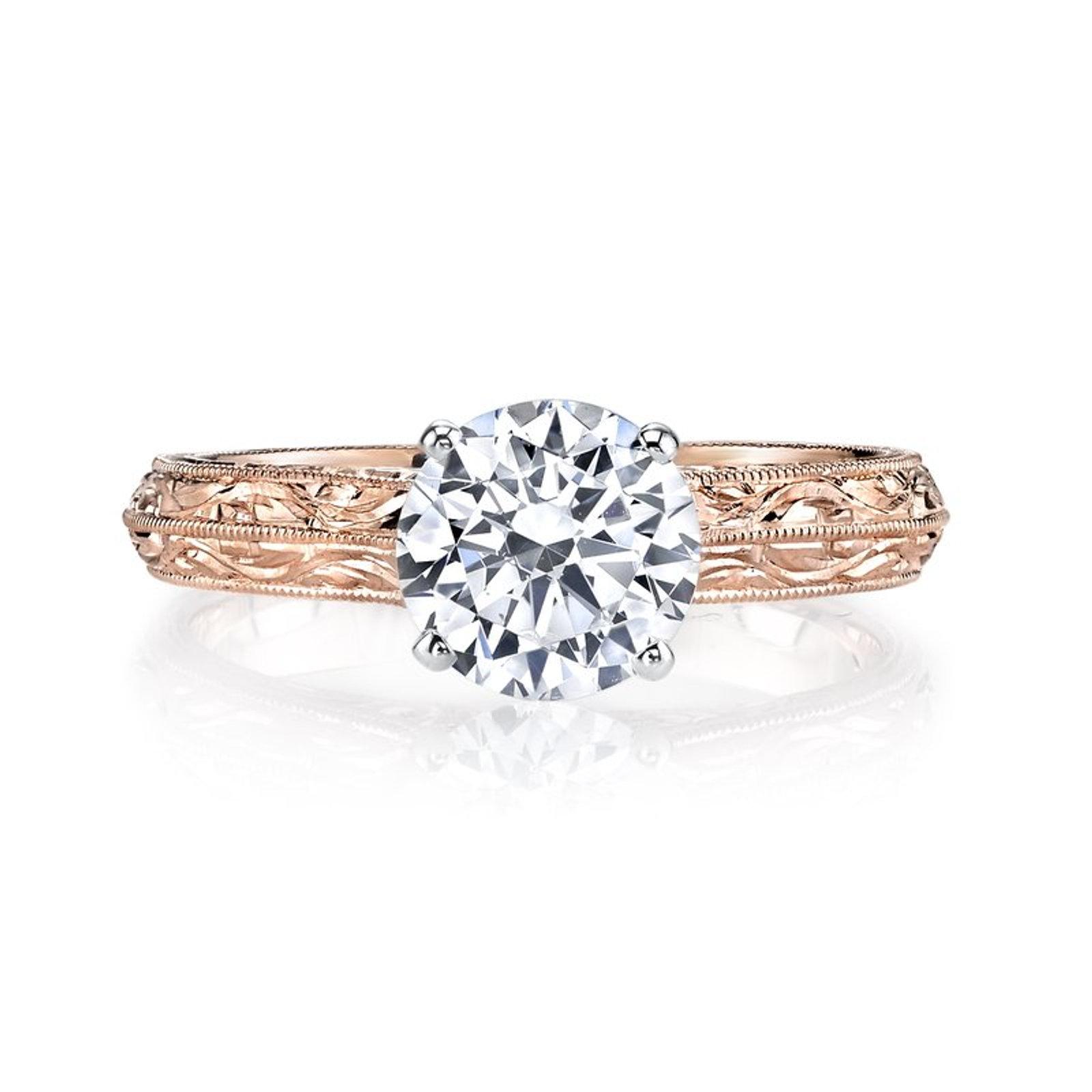 14kt Rose Gold Moissanite Engagement Ring Thebridalringstore