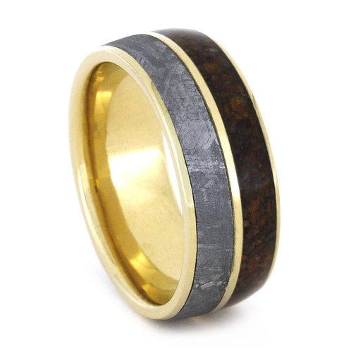Meteorite 14kt Gold Wood Ring