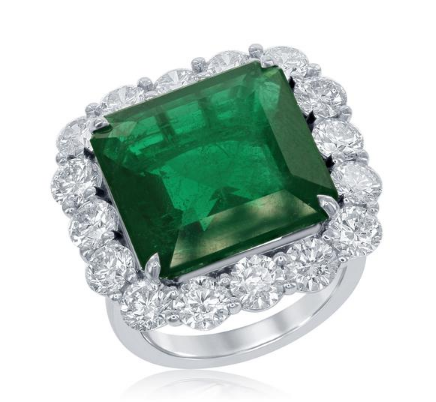 Platinum Green Emerald and Diamond Ring