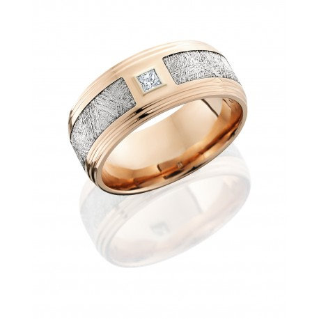 14K Rose Gold 9mm Flat Band with Double Grooved Edges, 4.5mm Meteorite inlay and