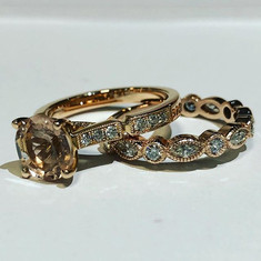 Morganite and diamond ring and wedding b