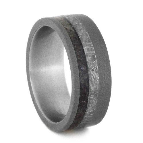 Meteorite Titanium Dinosaur Bone Ring