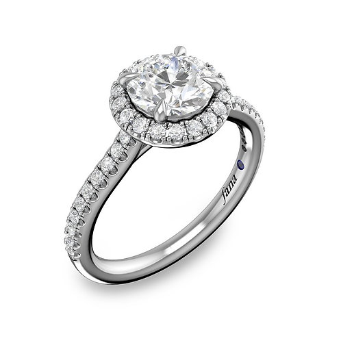 Delicate Round Halo and Pave Band Engagement Ring