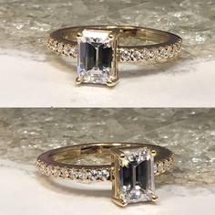 Emerald cut center stone offset with mic