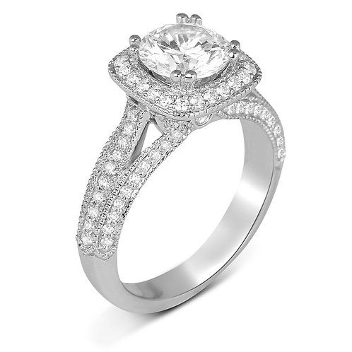 14kt Gold Halo Moissanite  Engagement Ring