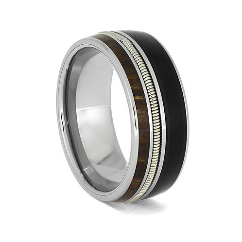 Wood Guitar String Titanium Ring