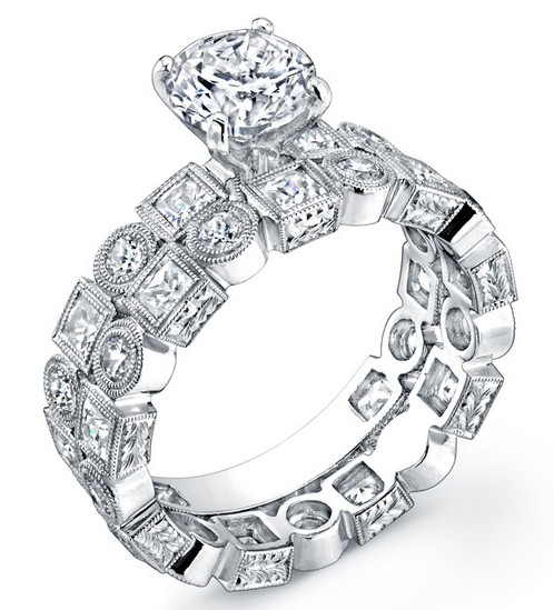 A Beautiful Art Deci Ring Consisting Of Natural Side Diamonds And Finished  By Hand, As Well As A Matching Wedding Band. Please Select From The Options  For ...