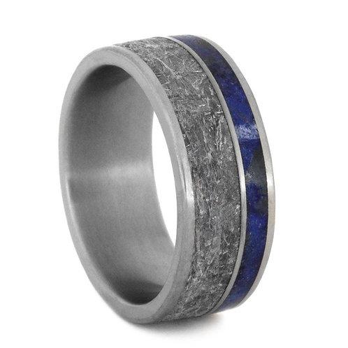 Meteorite lapis Titanium Ring