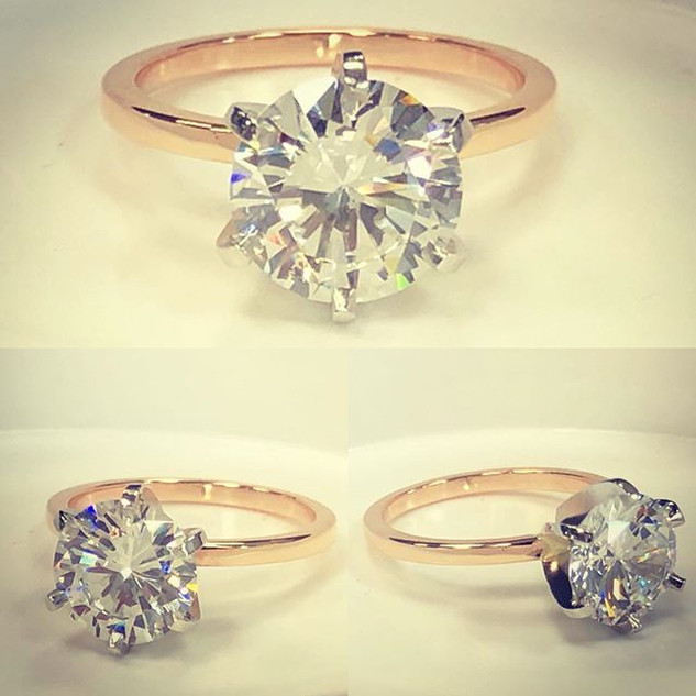 Beautiful rose gold solitaire with plati